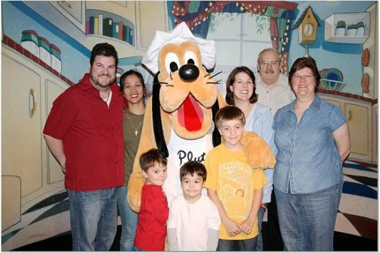 Enjoying a family dinner at Goofy's Kitchen {Saving Up for Disney}