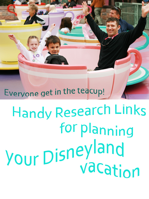 Research links for a Disneyland vacation