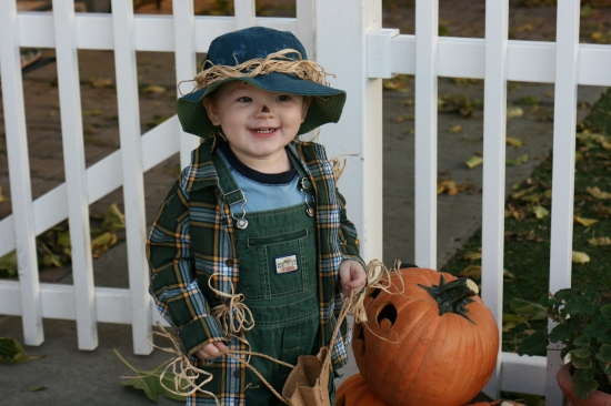 Baby scarecrow costume with items in the closet - totally free! {Saving Up for Disney}