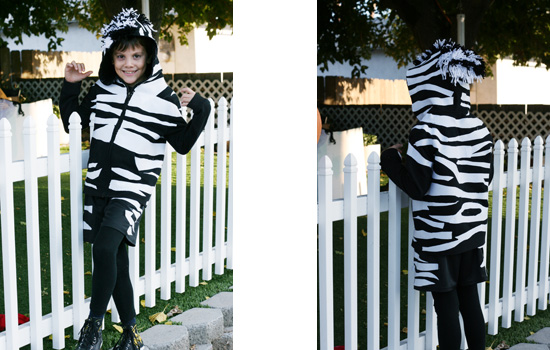 Zebra costume made from a hoodie {Saving Up for Disney}
