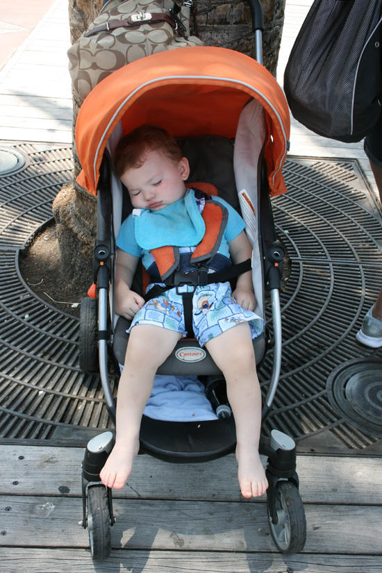 Bring a stroller, nobody wants to hold a heavy sleeping baby in the parks {Saving up for Disney}