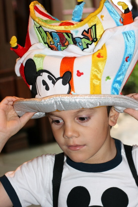 Happy Birthday Disneyland Hat, complete with candles!