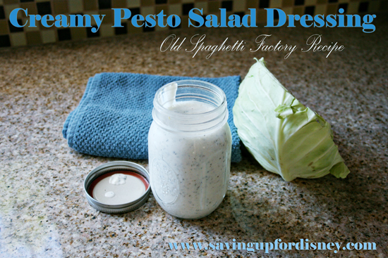 DIY Creamy Pesto Salad Dressing (Old Spaghetti Factory recipe)  - My favorite dressing, and so easy to make at home!!