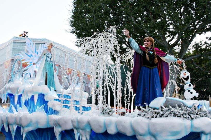 Frozen Pre-parade float at Disneyland