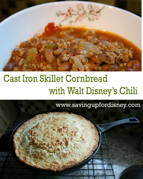 Cast iron skillet cornbread with Walt Disney's Chili